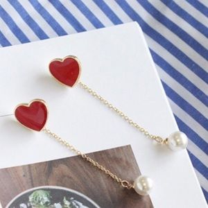 Jewelry - Red Heart with Removable Dangle Pearl Earrings